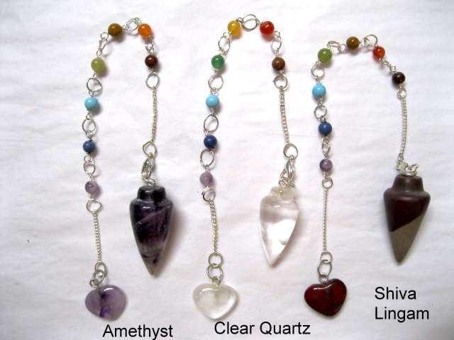Chakra Pendulum - quartz, amethyst, shiva ligam