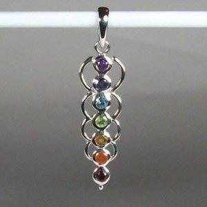 Chakra Energy Links Pendant, Sterling Silver pendant with Chakra Gemstones