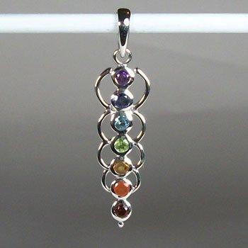 Chakra Energy Links Pendant, Sterling Silver pendant with Chakra Gemstones