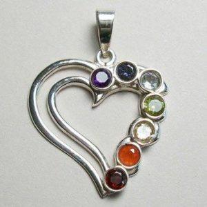 Chakra Heart Pendant, Sterling Silver pendant with Chakra Gemstones
