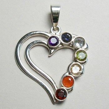 Chakra Heart Pendant, Sterling Silver pendant with Chakra Gemstones