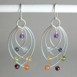 Chakra Balancing Earrings, Sterling Silver earrings with Chakra Gemstones