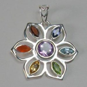 Flower Power Chakra, Sterling Silver pendant with Chakra Gemstones