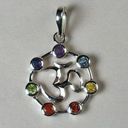 OM Chakra Pendant, Sterling Silver pendant with Chakra Gemstones
