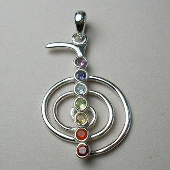 Sterling silver gemstone pendant with reiki chakra design