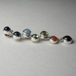 Kundalini Energy Chakra Gemstone Cab Pendant, Sterling Silver pendant with Chakra Gemstones