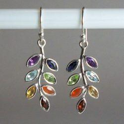 Chakra Leaf Earrings, Sterling Silver earrings with Chakra Gemstones