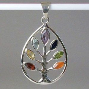 Chakra Tree of Life Pendant, Sterling Silver pendant with Chakra Gemstones