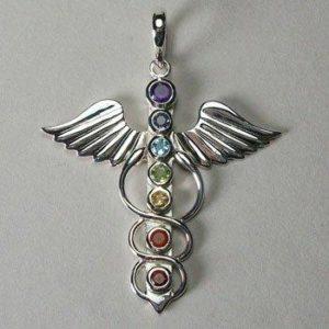 Angel of Healing Chakra Pendant, Sterling silver chakra gemstone pendant