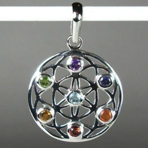 Chakra Flower of Life Pendant, Sterling Silver and Gemstone Pendant