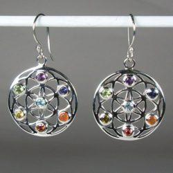 Chakra Flower of Life Earrings, Sterling Silver earrings with Chakra Gemstones