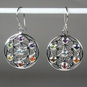 Chakra Flower of Life Earrings, Sterling Silver earrings with Chakra Gemstones