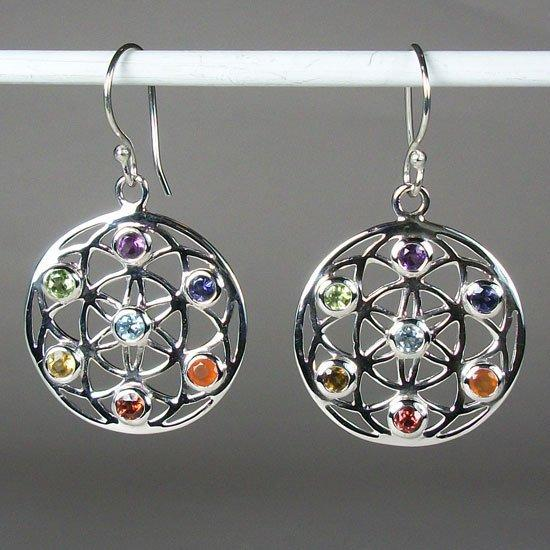 Chakra Flower Of Life Earrings Sterling Silver With Gemstones