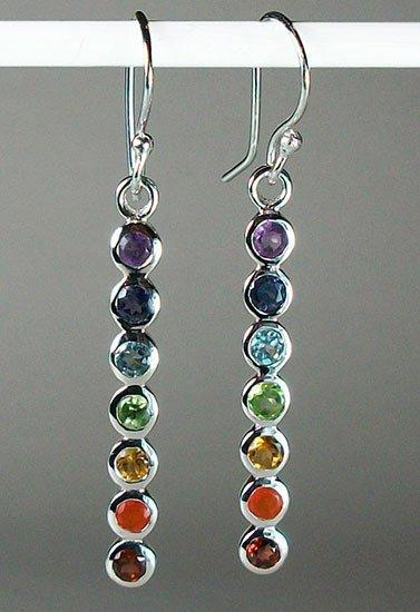 Basic Chakra Earrings - Sterling Silver Pendant with gemstones