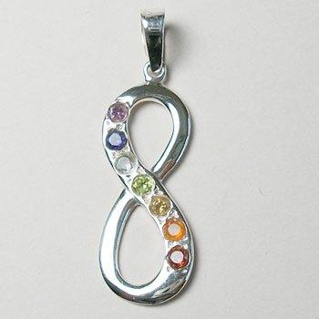 Chakra Infinity Pendant, Sterling Silver pendant with Chakra Gemstones