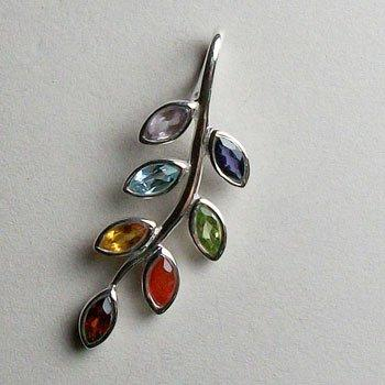 Chakra Leaf Pendant, Sterling Silver pendant with Chakra Gemstones