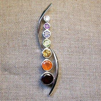 Chakra Harmony Pendant, Sterling Silver pendant with Chakra Gemstones