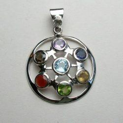 Chakra Cycle of Time, Sterling Silver pendant with Chakra Gemstones