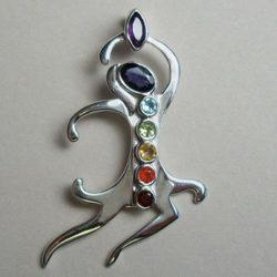 Chakra Dancing Goddess, Sterling Silver pendant with Chakra Gemstones
