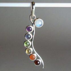 Chakra Moonstone Pendant, Chakra Gemstone and Sterling Silver Pendant