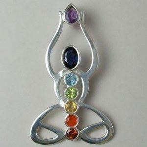 Chakra Lotus Yoga Pose Pendant, Sterling Silver pendant with Chakra Gemstones