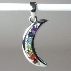 Chakra Crescent Moon Pendant, Chakra Gemstone and Sterling Silver Pendant