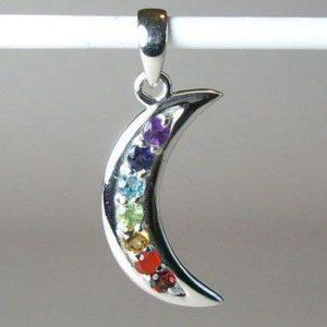 Chakra Crescent Moon Pendant, Chakra Gemstone and Sterling Silver Pendant