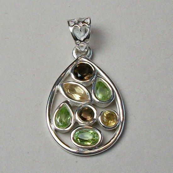 Nature's Medley Pendant, Sterling Silver and Gemstone Pendant