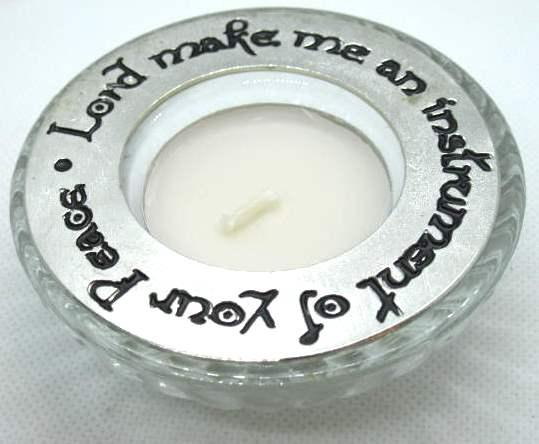 Peace Prayer Pewter Candle Ring