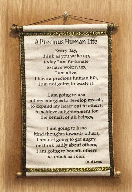 Tibetan Prayer Scroll - A Precious Human Lilfe