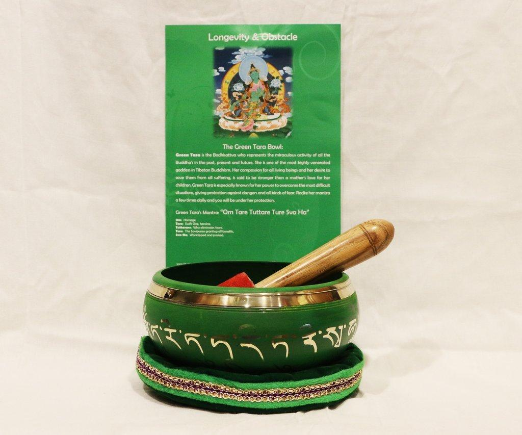 Authentic Tibetan Green Tara Singing Bowl for Longevity and Removal of Obstacles