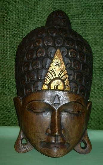 Hand Carved Wood Buddha mask