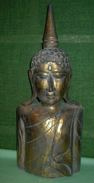 Golden Wood Buddha Mask & Chest
