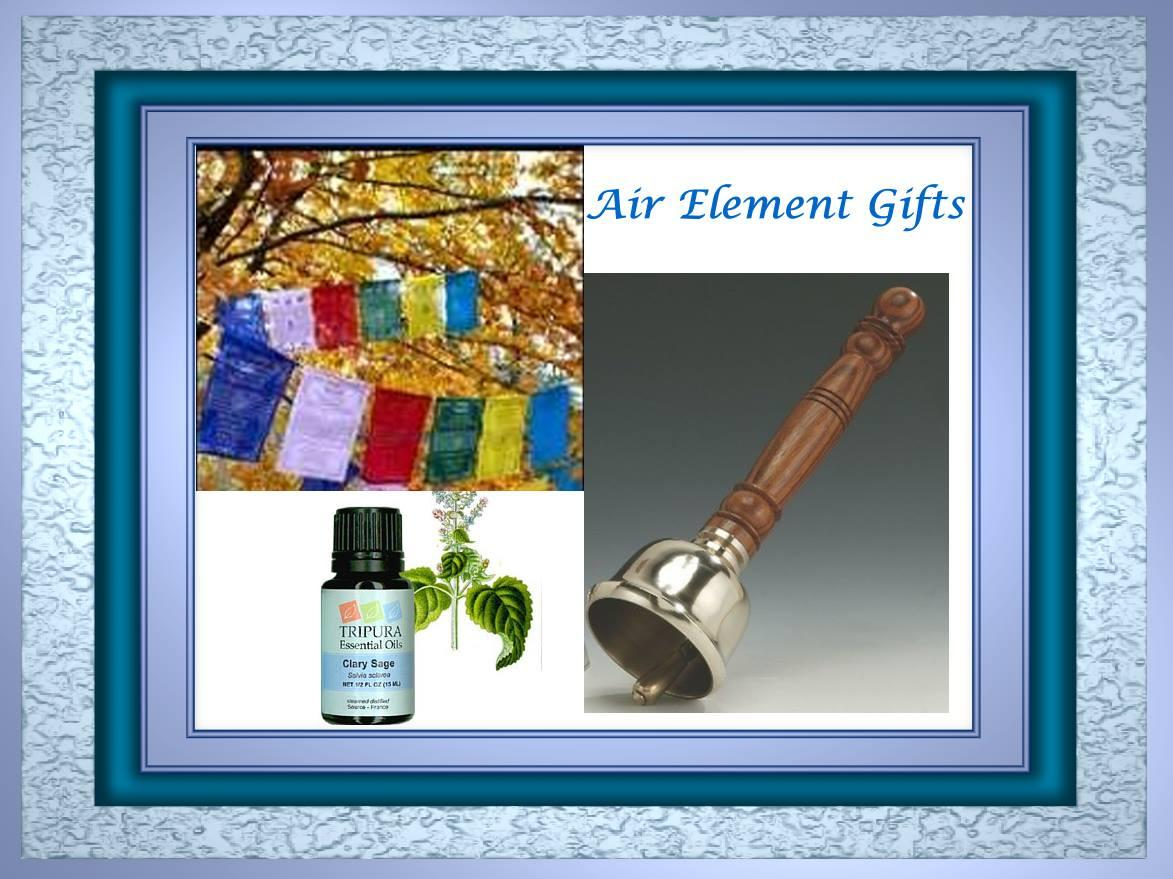Air Element Gifts from Mountain Valley Center.com, Space Clearning Bells, prayer flags and aromatherapy