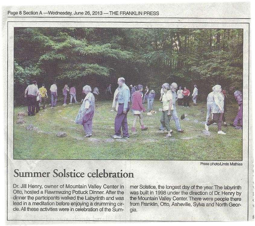 article in the Franklin Press, about the Otto Labyrinth Park