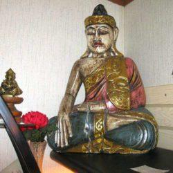 large hand carved and painted sitting buddha