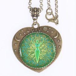 Green Goddess Mandala Love Pendant