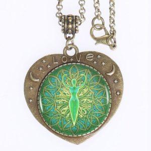 Green Goddess Mandala Love Pendant