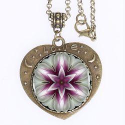 Mandala Purple Flower Love Pendant. Bronze plated zinc alloy Pendant with Sacred Symbol Art