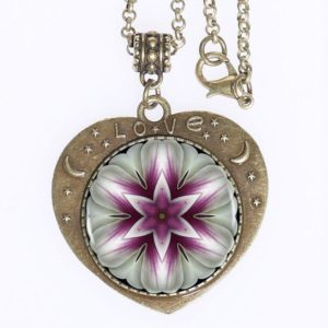 Mandala Purple Flower Love Pendant. Bronze plated zinc alloy Pendant with Sacred Symbol Art