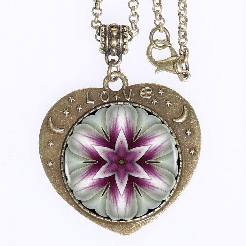 Sacred symbol pendants wear the love mountain valley center mandala purple flower love pendant bronze plated zinc alloy pendant with sacred symbol art mozeypictures Image collections