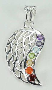 Chakra Guardian Angel Wing Pendant, Sterling Silver pendant with Chakra Gemstones