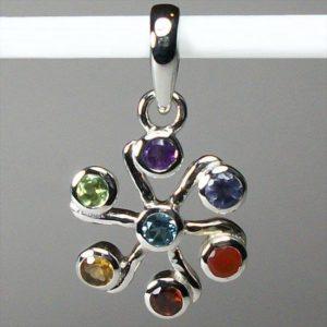 Chakra Jasmine Flower Pendant, Sterling Silver pendant with Chakra Gemstones
