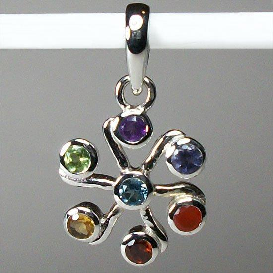Chakra Jasmine Flower Pendant, Sterling Silver pendant with Chakra Gemstones