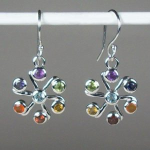 Chakra Jasmine Flower Earrings, Sterling Silver earrings with Chakra Gemstones