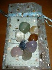 chakra gemstone pouch with 8 gemstones