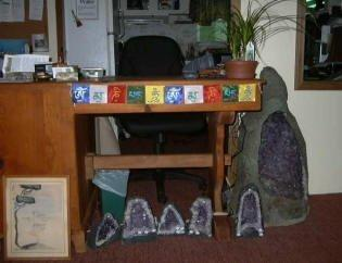 prayer flags on desk at Otto Labyirnth Park
