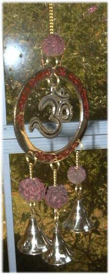Brass OM Chime with Rudraksha, Seeds of Faith.