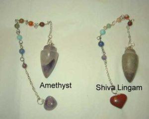 Amethyst and Shiva Chakra Gemstone Pendulums