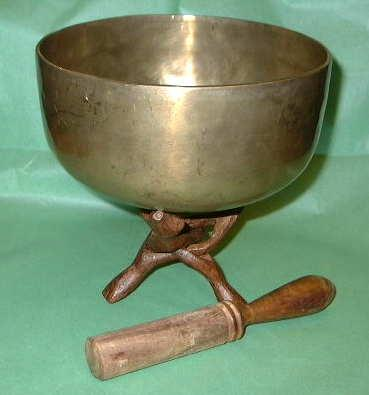 Tibetan Singing Bowl on Tripod Stand